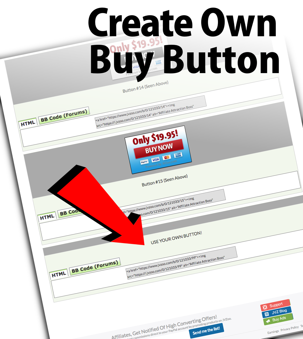Create Your Own Buy Button On JVZoo
